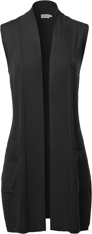A2Y Women's Open Front Sleeveless Draped Side Pockets Vest Knit Sweater