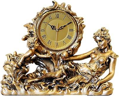 Rxbdk 時計デスクトップヨーロッパスタイルのアンティークの居間レトロアート装飾雰囲気ミュート樹脂