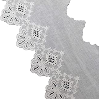 5 Yards 4 Inches Wide Cotton Eyelet Lace Cotton Embroidered Lace Trim Fabric For Garment Home Decor DIY Craft Supply