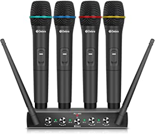 Debra Audio Pro UHF 4 Channel Wireless Microphone System With Cordless Handheld Lavalier Headset Mics, Metal Receiver, Ide...