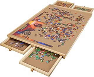 Lovinouse Upgraded Wooden Puzzle Table, for 1000 Pieces Puzzles, Plateau-Smooth Fiberboard Work Surface with 4 Sliding Dra...