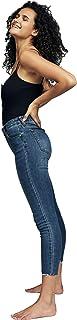 Cotton On Women's Denim Jeans, Mid Blue Chewed Hem
