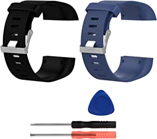 E ECSEM Bands Compatible with Fitbit Surge, Large, Silicone Wristbands/Straps for Surge Fitness Superwatch, 2pcs