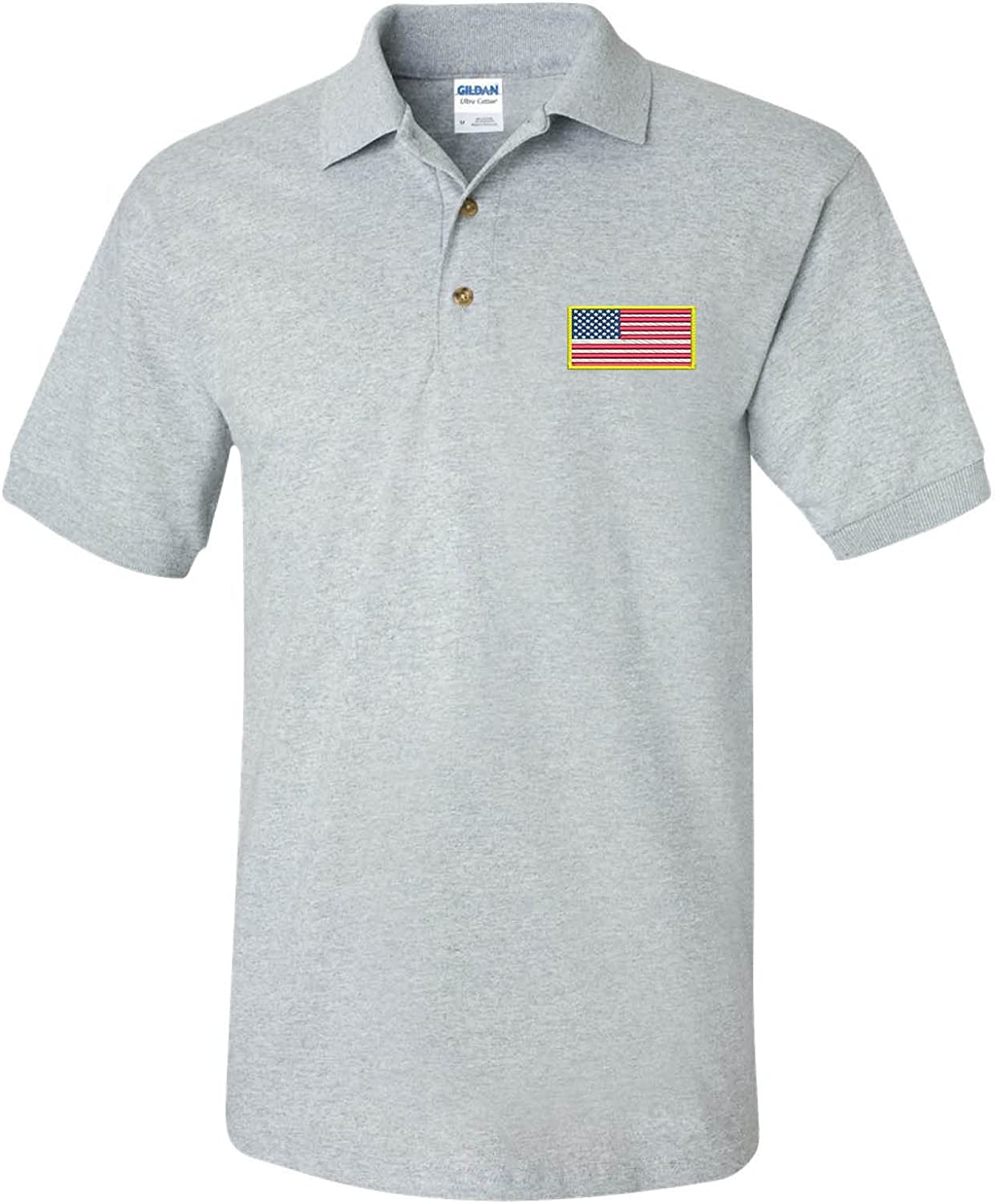 ALLNTRENDS Men's Polo T Online limited product Shirt Flag Embroidery Am Many popular brands Embroidered USA