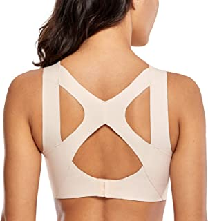 Women's High Impact Seamless Racerback Wirefree Sports Running Bra with Built-in Cups