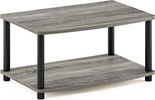 FURINNO Stojaki pod telewizor bez użycia narzędzi, drewno, francuski dąb szary/czarny, jeden rozmiar