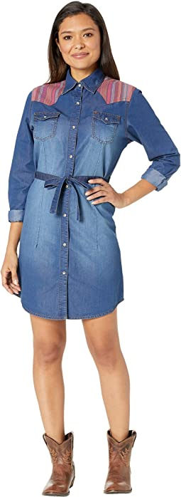 Dobby Yoke Long Sleeve Shirtdress
