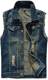 Mens Casual Denim Vest Sleeveless,Vintage Jean Vest Button Down