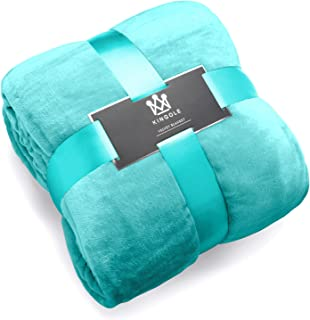 Kingole Flannel Fleece Microfiber Throw Blanket, Luxury Teal Twin Size Lightweight Cozy Couch Bed Super Soft and Warm Plush Solid Color 350GSM (66 x 90 inches)