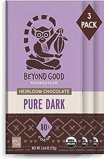 Beyond Good Chocolate Bars | 3 Pack 80% Pure Dark Chocolate | Organic, Direct Trade, Vegan, Kosher, Non-GMO | Single Origi...
