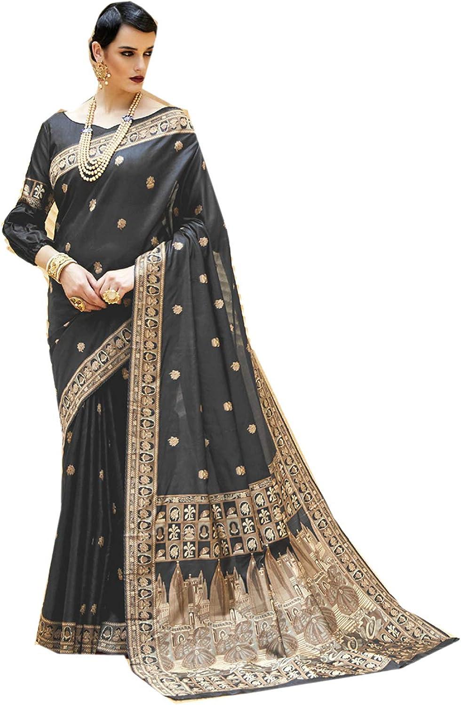 Indian Sarees for Women Designer Diwali Party Wear Traditional Grey Sari.
