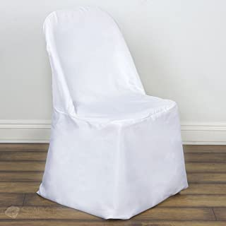 Sparkles Make It Special 50 pc Polyester Folding Chair Covers - Wedding Reception Banquet Party Restaurant - White
