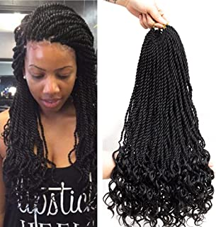 VRUnique 20 Inch (6 Count) 1B# Goddess Senegal Twist Crochet Braids Hair With Curly Wave Ends Synthetic Kanekalon Fiber Braiding Hair High Temperature Hair Extensions 30 Strands/Packs