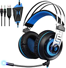 Gaming Headset for PC, SADES PS4 Headset with Mic, Noise Cancelling Over Ear Headphones with LED Light Bass Surround Soft Memory Earmuffs Compatible for Mac Laptop