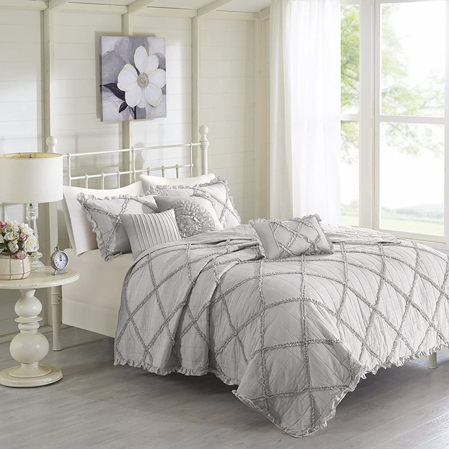 Madison Park Rosie Coverlet Set, King Cal King, Grey