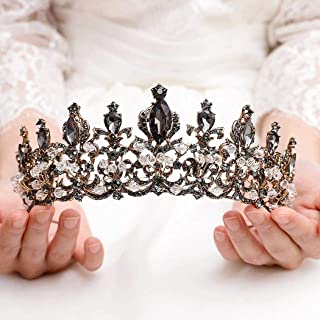 Catery Black Baroque Crowns and Tiaras Crystal Rhinestones Bride Wedding Queen Crowns for Women and Girls Decorative Princess Tiaras Hair Accessories for Prom