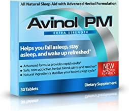 Avinol PM Extra Strength | All-In-One Natural Sleep Aid for Deep Restful Sleep – Relieve Insomnia & Jet Lag (30 ct)