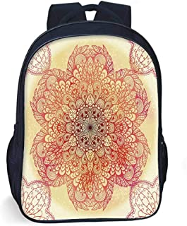 Red Mandala Stylish Backpack,Magical Spiritual Hand Drawn Bloom with,for School