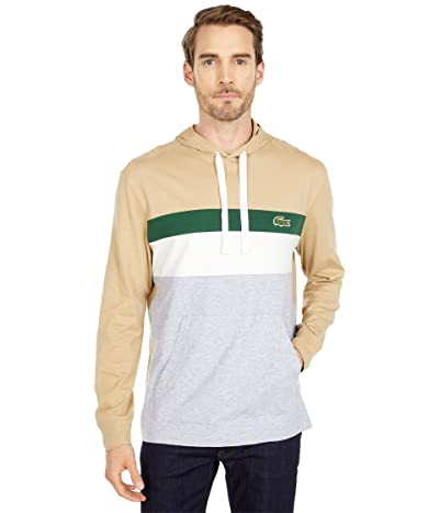 Lacoste Long Sleeve Color-Blocked Hooded T-Shirt (Silver Chine/Flour/Green/Viennese) Men