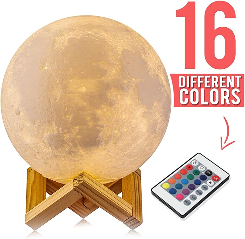 3D Printed Moon Lamp Big Large 5 9 Inch With Stand 16 Color LED Remote Controlled USB Night Light Dimmable Hand Touch Switch 9 Brightness Levels Realistic Moonlight L Mpara De Luna Gift Nursery Kids