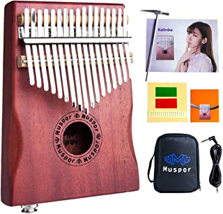 AKDSteel 17-Key EQ Kalimba Mahogany Professional Electric Finger Thumb Piano with Bag and Audio Cable
