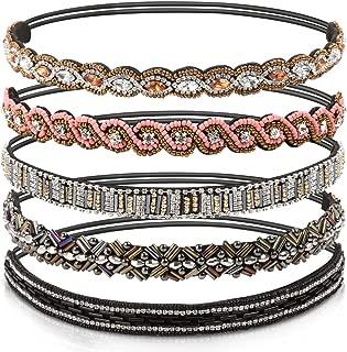 Teenitor 5pcs Jeweled Headband, Handmade Elastic Headbands for Women, 20-26.8 Fits for Most