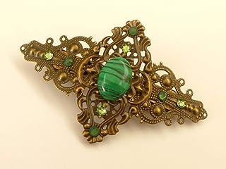 Pinza para el pelo con piedras preciosas y malaquita en verde bronce