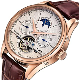 LIGE Waterproof Mens Watches Business Calendar Mechanical EEN Watch Automatic Gold White Leather Strap Wristwatch