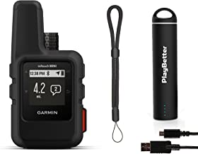 Garmin inReach Mini (Gray) Satellite Communicator Bundle (+1 Month Free Satellite Subscription) | +PlayBetter Portable Charger & GPS Tether | Belt, Carabiner Clip | Hiking GPS, GEOS Emergency, Messagi