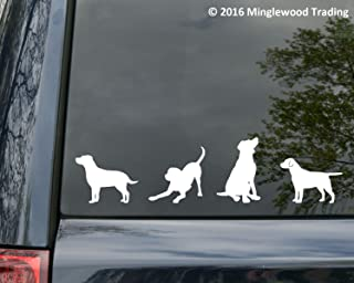 Minglewood Trading - White - Set of Four (4) Labrador Retreiver Vinyl Stickers - Lab - Dog Puppy - Die Cut Decal - 20 Color Options
