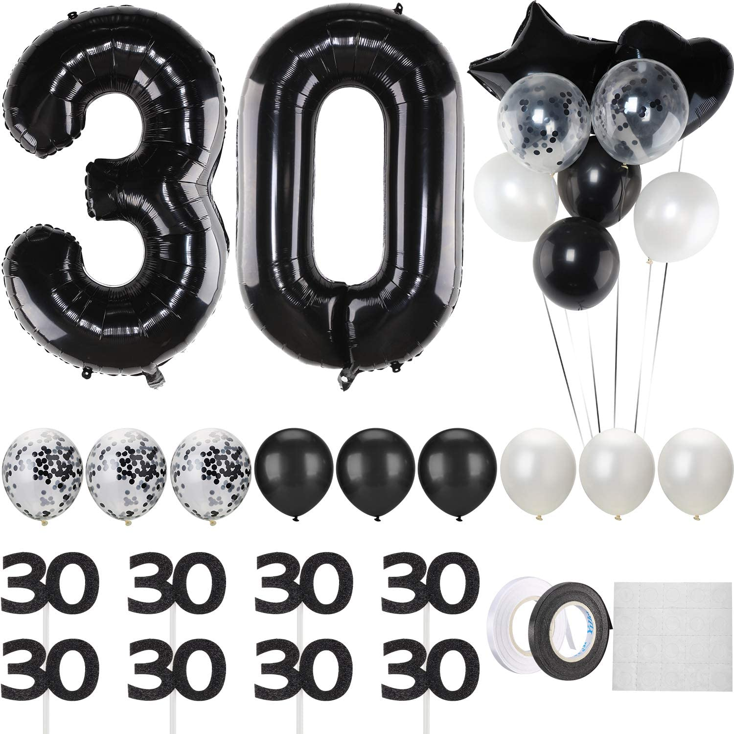 40 Inch black 30 number balloon Jumbo Foil Helium 30 Balloons,Wh