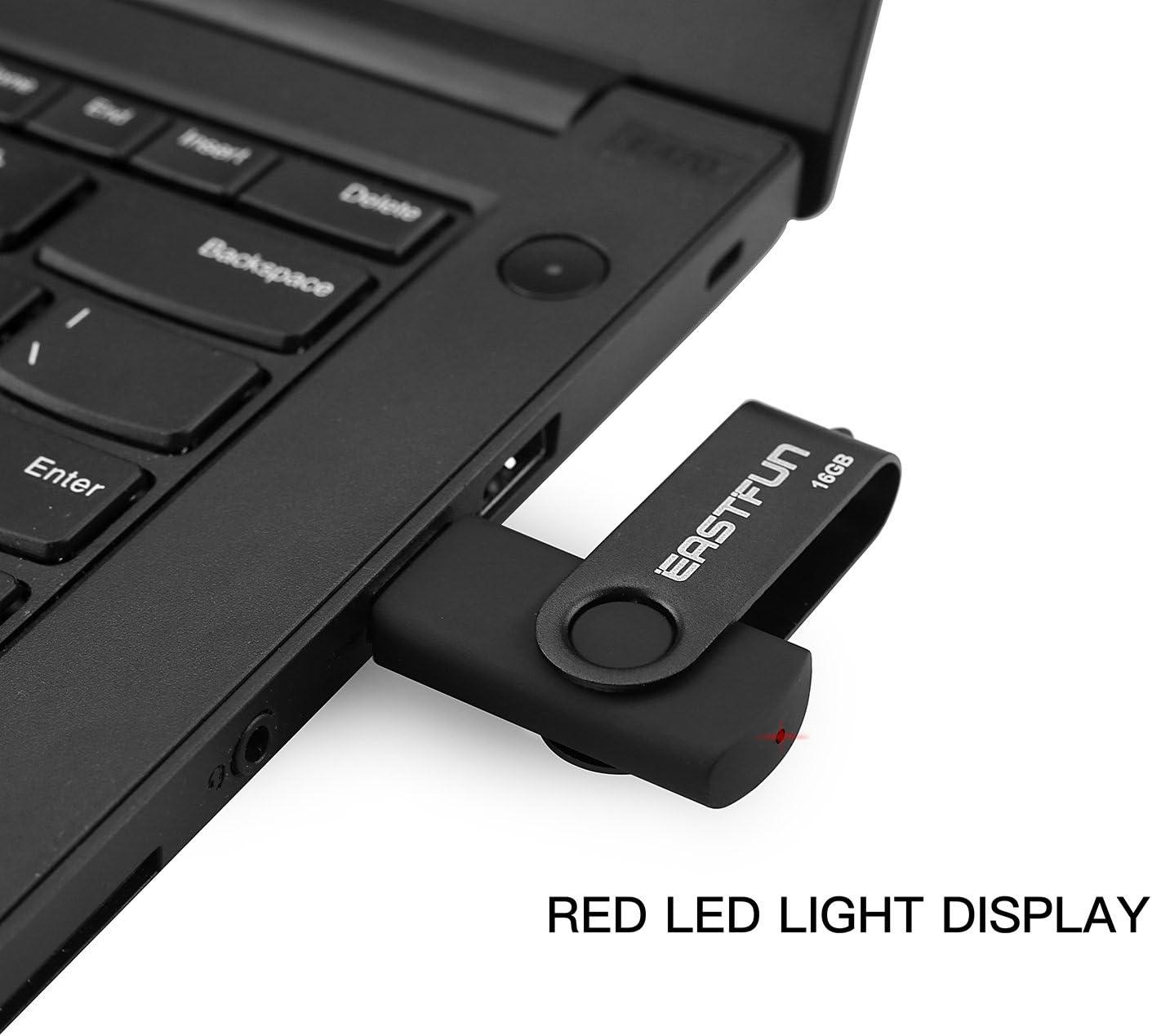 EASTFUN 3Pack 16GB USB 2.0 Flash Drive Thumb Drive Jump Drive Pen Drive Zip Drive Memory Stick (Black Blue Green)