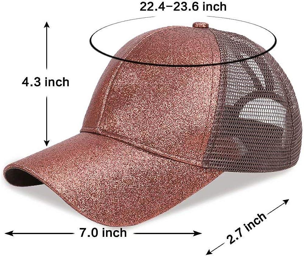 RONGASD Womens Glitter Ponytail Cap Girls Messy Hign Bun Baseball Cap Adjustable Ponycap