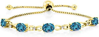 Gem Stone King 4.50 Ct Oval London Blue Topaz and Diamond 18K Yellow Gold Plated Silver Adjustable Tennis Bracelet