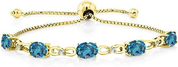 Gem Stone King 4.50 Ct Oval London Blue Topaz 18K Yellow Gold Plated Silver Diamond Bracelet