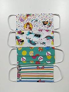 Maschere multiuso Disney copri bocca e naso bambina in 100% cotone, set 4 pezzi.