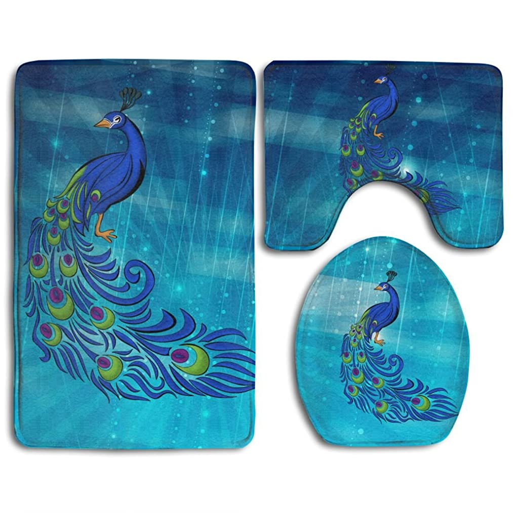 Peacock Clipart Skidproof Toilet Seat Cover Bath Mat Lid Cover