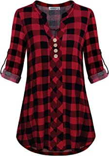 Womens Roll Tab Sleeve V Neck Plaid Shirts Trendy Casual Checkered Blouse Tops