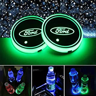 Honghou Technology for Ford LED car Cup Holder lamp, car Logo Coaster with 7 Colors, Replaceable USB Charging pad, Ambient Light lamp with Glowing Coaster Interior(2pcs)