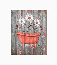 Coral Grey Rustic Bathroom Wall Art, Daisy Flowers, Butterflies Farmhouse Decor, Matted 5x7, 8x10, 11x14 Home Decor Picture