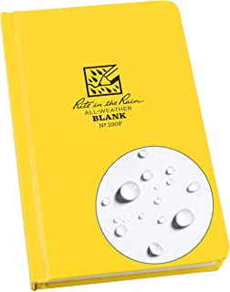 "Rite in the Rain Weatherproof Hard Cover Notebook, 4.75"" x 7.5"", Yellow Cover, Blank Pattern (No. 330F)"