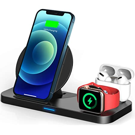 TEMINICE 3 in 1 Wireless Charger for Apple Watch & AirPods Charging Dock Station, Nightstand Mode for iWatch Series SE/6/5/4/3/2/1,Fast Charging for iPhone 12/11/Pro Max/XR/XS Max/Xs/X/8/8P (Black)