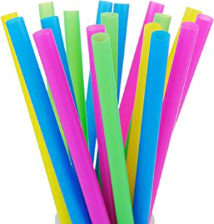 ALINK 100 Extra Large Plastic Bubble Tea Smoothie Milkshake Straws, 1/2