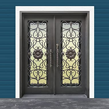ALEKO IDQ6281QBZ07 Iron Square Top Sunflower Dual Door with Frame and Threshold 62 x 81 Inches Aged Bronze