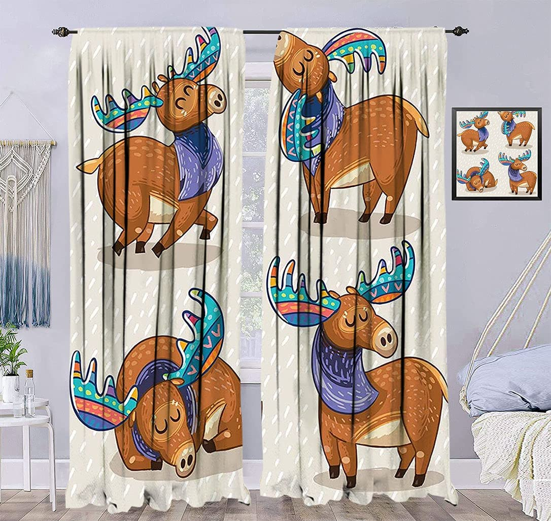 Moose Decor Decorative Curtain At the price of surprise Kids Elks 2021new shipping free Cute Inspired Cartoon