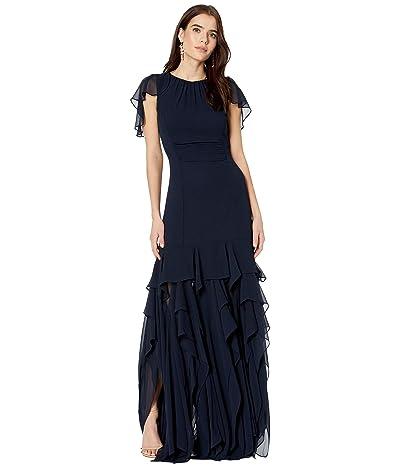 Halston Flounce Georgette Gown (Dark Navy) Women