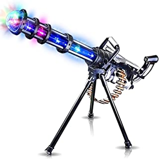 ArtCreativity Light Up Rotary Machine Toy Gun with Tripod Stand Rotating Barrel, LED and Sound Effects - 23 Inch Pretend Play Military Rifle - Batteries Included - Great Gift for Boys and Girls