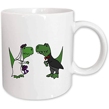 Amazon Com 3drose Funny Trex Dinosaurs Bride And Groom Wedding Art Mug 11 Oz Black Green Kitchen Dining