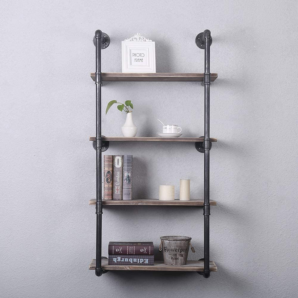 Industrial Pipe Shelving Wall Mounted,20in Rustic Metal Floating  Shelves,Steampunk Real Wood Book Shelves,Wall Shelf Unit Bookshelf Hanging  Wall ...