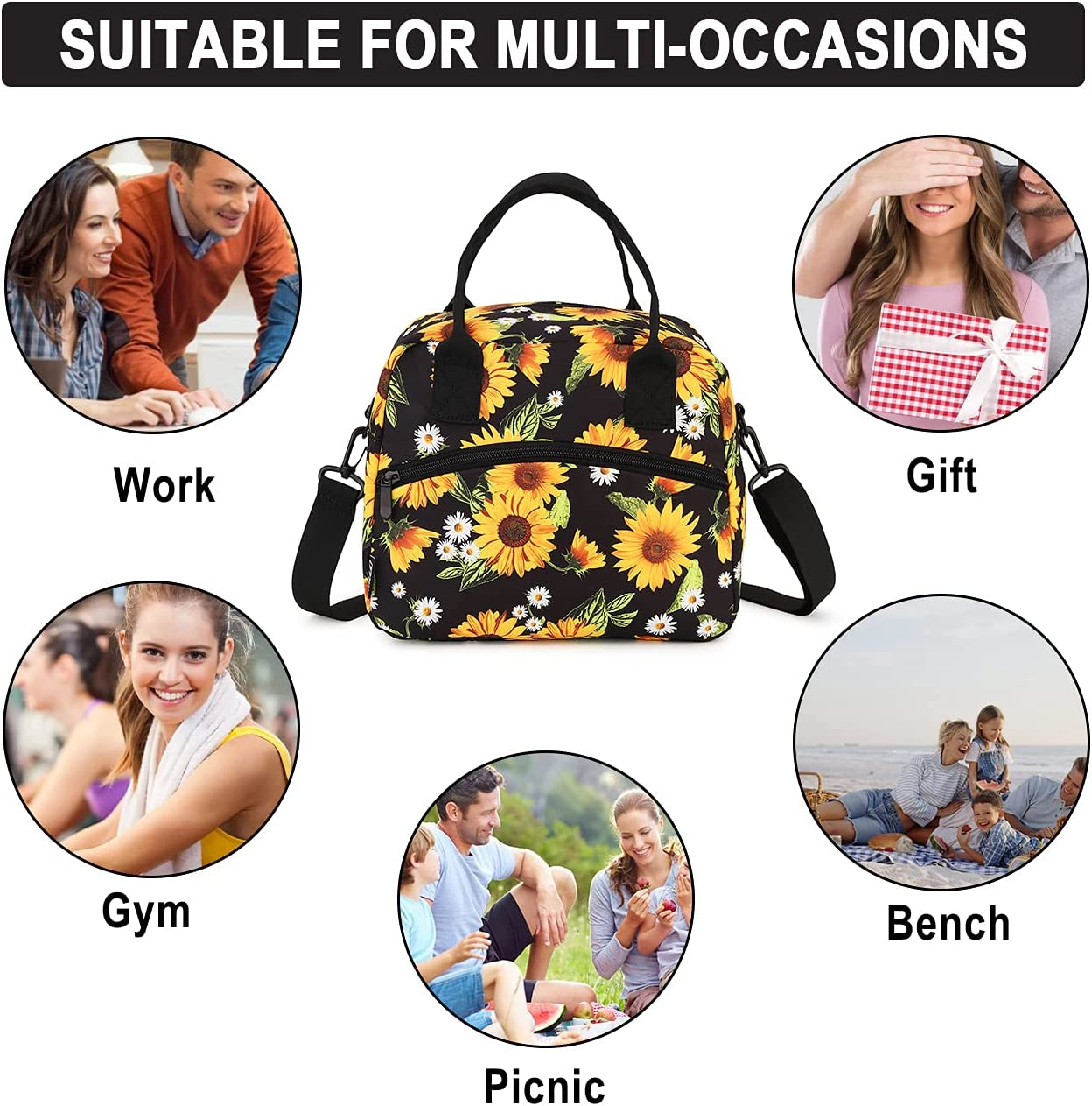 Leakproof Insulated Lunch Tote Bag for Women with Adjustable Shoulder Strap Reusable Lunch Box Containers Cooler Bag ,Sunflower RAVUO